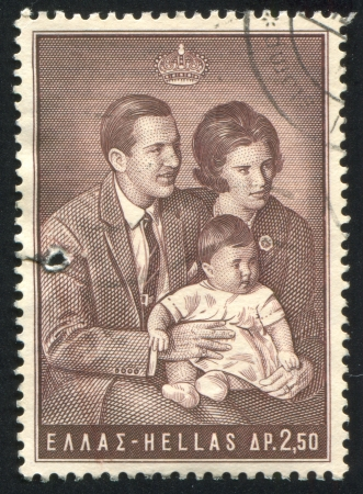 anne: GREECE - CIRCA 1966: stamp printed by Greece, shows king Constantine II, queen Anne-Marie and princess Alexia, circa 1966