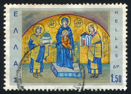 justinian: GREECE - CIRCA 1968: stamp printed by Greece, shows Emperors Constantine and Justinian bringing offerings to Virgin Mary, circa 1968