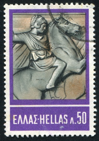 GREECE - CIRCA 1968: stamp printed by Greece, shows Alexander the Great on horseback, from sarcophagus, circa 1968