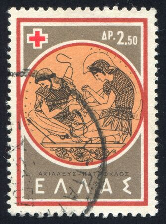 GREECE - CIRCA 1959: stamp printed by Greece, shows Achilles and Patroclus, circa 1959 Stock Photo - 14444258