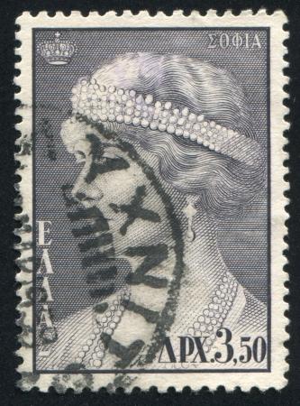 perls: GREECE - CIRCA 1957: stamp printed by Greece, shows Queen Sophia, circa 1957