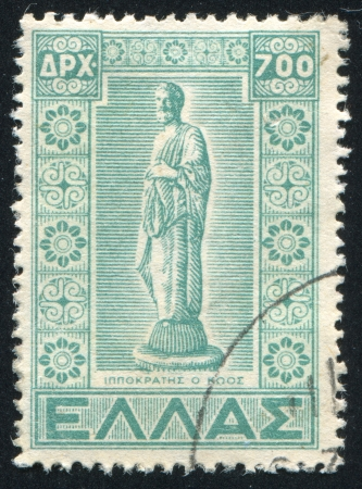 GREECE - CIRCA 1950: stamp printed by Greece, shows Statue of Hippocrates, circa 1950 Stock Photo - 14444242