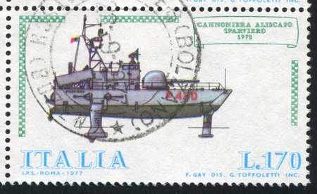 ITALY - CIRCA 1977: stamp printed by Italy, shows Italian Ships, Hydrofoil gunboat Sparviero, circa 1977 Stock Photo - 14444375