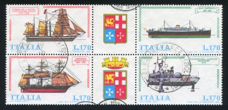 ITALY - CIRCA 1977: stamp printed by Italy, shows Italian Ships, circa 1977
