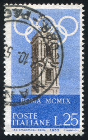 olympic rings: ITALY - CIRCA 1959: stamp printed by Italy, shows Capitoline tower and Olympic  Rings, circa 1959 Editorial