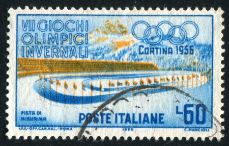 lake misurina: ITALY - CIRCA 1956: stamp printed by Italy, shows Stadium at Cortina, Ice racing, Lake Misurina, circa 1956 Editorial