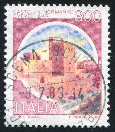 slits: ITALY- CIRCA 1980: stamp printed by Italy, shows Castles- Bari, circa 1980 Editorial