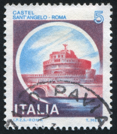 ITALY - CIRCA 1980: stamp printed by Italy, shows castle, St. Angelo Castle, Rome, circa 1980 Stock Photo - 14444125