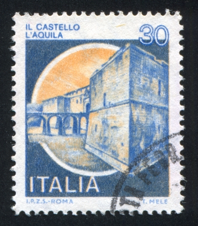 ITALY - CIRCA 1981: stamp printed by Italy, shows castle, Aquila, circa 1981