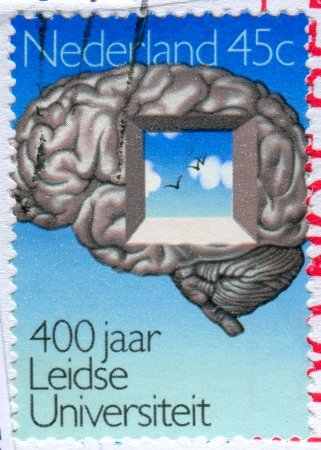 free thought: NETHERLANDS - CIRCA 1975: stamp printed by Netherlands, shows Brain with Window Symbolizing Free Thought, circa 1975