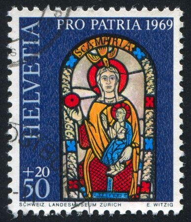 SWITZERLAND - CIRCA 1969: stamp printed by Switzerland, shows Stained window, circa 1969