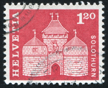 SWITZERLAND - CIRCA 1960: stamp printed by Switzerland, shows Basel gate, Solothurn, circa 1960