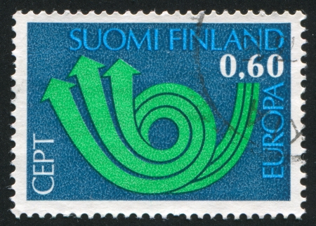posthorn: FINLAND - CIRCA 1973: stamp printed by Finland, shows Stylized Posthorn, circa 1973
