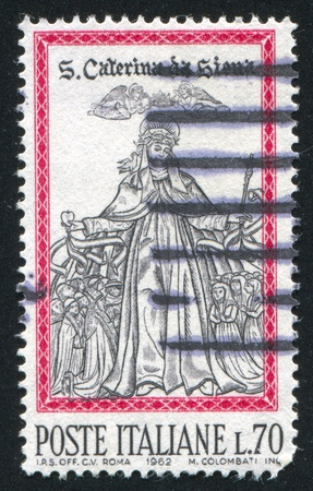 ITALY - CIRCA 1962: stamp printed by Italy, shows Canonization of St. Catherine of Siena, circa 1962