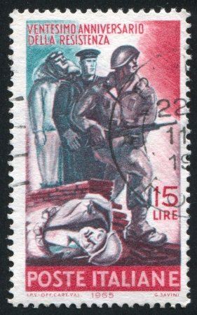 airman: ITALY - CIRCA 1965: stamp printed by Italy, shows Italian Soldier, Sailor and Airman Fighting for the Allies, circa 1965