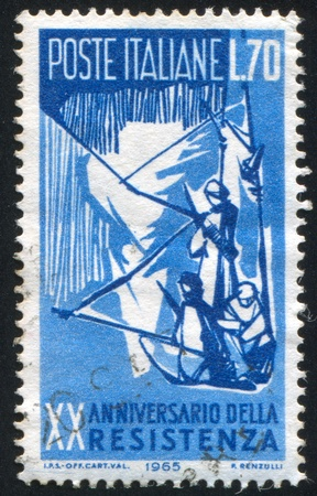 ITALY - CIRCA 1965: stamp printed by Italy, shows Guerrilla Fighters in the Mountains, circa 1965 Stock Photo - 14466626
