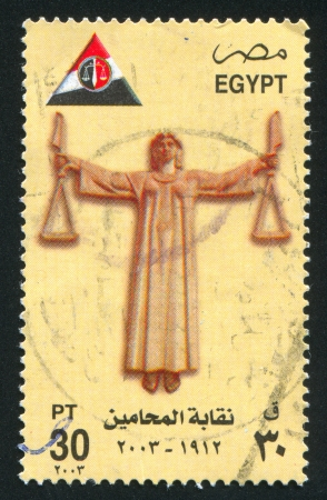 EGYPT - CIRCA 2002: stamp printed by Egypt, shows Justice symbol, circa 2002