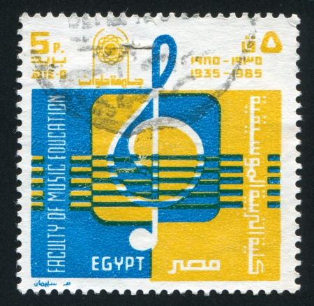 stratification: EGYPT - CIRCA 1985: stamp printed by Egypt, shows Treble clef, circa 1985 Editorial