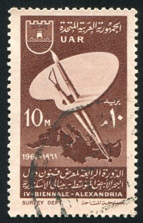 pallete: EGYPT - CIRCA 1961: stamp printed by Egypt, shows Brush, pallete, map, circa 1961 Editorial