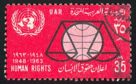 abjad: EGYPT - CIRCA 1963: stamp printed by Egypt, shows Emblems, circa 1963 Editorial