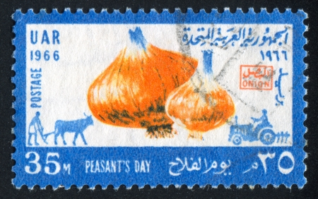 EGYPT - CIRCA 1966: stamp printed by Egypt, shows Onion, plougher, tractor, circa 1966
