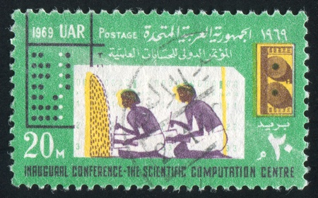 EGYPT - CIRCA 1969: stamp printed by Egypt, shows Ancient Arithmetic and computer cards, circa 1969