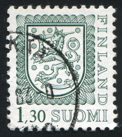 FINLAND - CIRCA 1974: stamp printed by Finland, shows Coat of arms of Finland, circa 1974