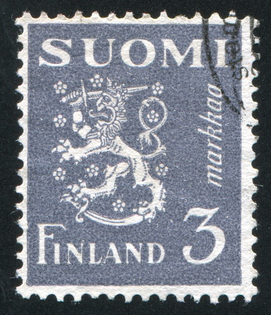 FINLAND - CIRCA 1930: stamp printed by Finland, shows Coat of arms of Finland, circa 1930 Stock Photo - 14681536