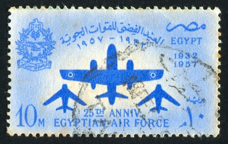 EGYPT - CIRCA 1957: stamp printed by Egypt, shows Aircrafts, arms, circa 1957