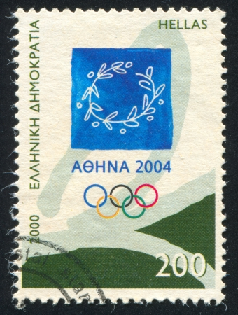 GREECE - CIRCA 2000: stamp printed by Greece, shows Emblem of 2004 Athens Olympic Games, circa 2000 Stock Photo - 14682947