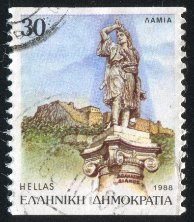 GREECE - CIRCA 1988: stamp printed by Greece, shows Statue of Athanasios Diakos and Castle, Lamia, circa 1988 Stock Photo - 14682909