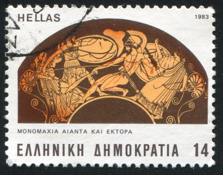 GREECE - CIRCA 1983: stamp printed by Greece, shows single handed battle between Ajax and Hector, circa 1983 Stock Photo - 14682902