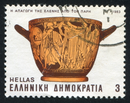 helen: GREECE - CIRCA 1983: stamp printed by Greece, shows The abduction of Helen by Paris, circa 1983 Editorial