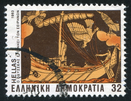 GREECE - CIRCA 1983: stamp printed by Greece, shows Ulysses on the island of the Sirens, circa 1983 Stock Photo - 14721048