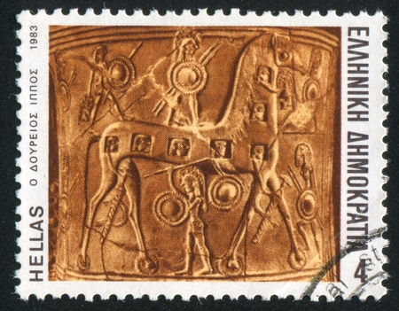 GREECE - CIRCA 1983: stamp printed by Greece, shows the wooden horse, circa 1983 Stock Photo - 14721070