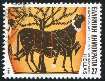 GREECE - CIRCA 1983: stamp printed by Greece, shows Ulysses escaping from cave of Polyphemus, circa 1983 Stock Photo - 14720615