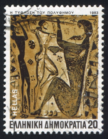 GREECE - CIRCA 1983: stamp printed by Greece, shows the blinding of Polyphemus, circa 1983 Stock Photo - 14720627