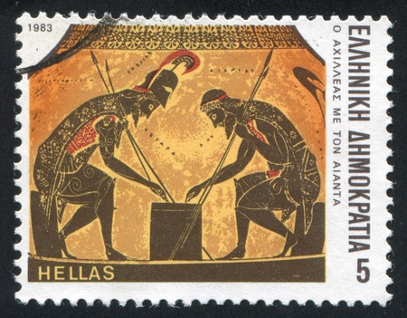 ajax: GREECE - CIRCA 1983: stamp printed by Greece, shows Achilles throwing dice with Ajax, circa 1983