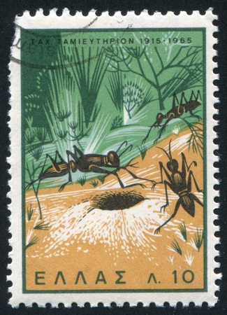 GREECE - CIRCA 1965: stamp printed by Greece, shows Ants ans Anthill, circa 1965