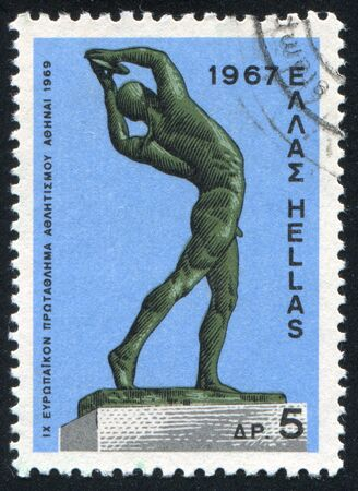 GREECE - CIRCA 1967: stamp printed by Greece, shows Discus thrower, by C.Demetriades, circa 1967 Stock Photo - 14721067