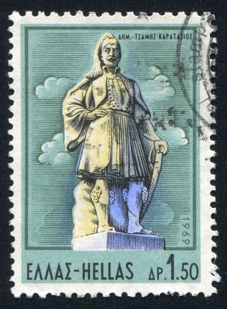 GREECE - CIRCA 1969: stamp printed by Greece, shows Demetrius Tsames Karatasios, by G. Demetriades, circa 1969 Stock Photo - 14721094
