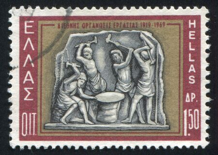 GREECE - CIRCA 1969: stamp printed by Greece, shows Hephaestus and Cyclops, relief, circa 1969 Stock Photo - 14721063