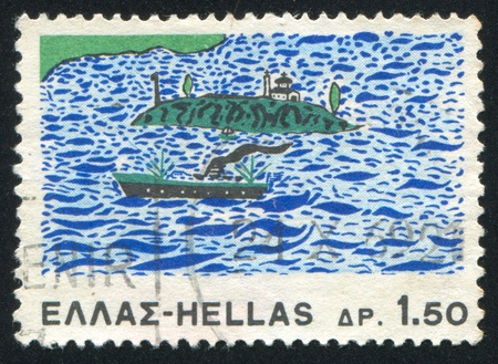 GREECE - CIRCA 1967: stamp printed by Greece, shows Steamship and island, circa 1967