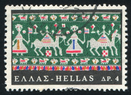 wedding parade: GREECE - CIRCA 1966: stamp printed by Greece, shows Embroidery, wedding parade, circa 1966 Editorial