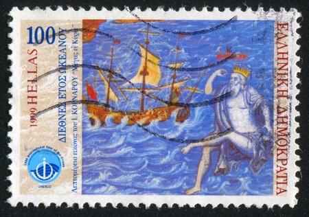 GREECE - CIRCA 1998: stamp printed by Greece, shows Sailing ship, Neptune, circa 1998 Stock Photo - 14721115