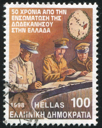 incorporation: GREECE - CIRCA 1998: stamp printed by Greece, shows Incorporation of the Dodecanese islands into Greece, circa 1998