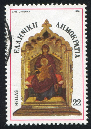 enthroned: GREECE - CIRCA 1986: stamp printed by Greece, shows Madonna and child enthroned, tryptich, center panel, circa 1986