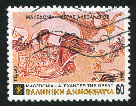 GREECE - CIRCA 1992: stamp printed by Greece, shows Alexander the Great at Battle of Issus, circa 1992