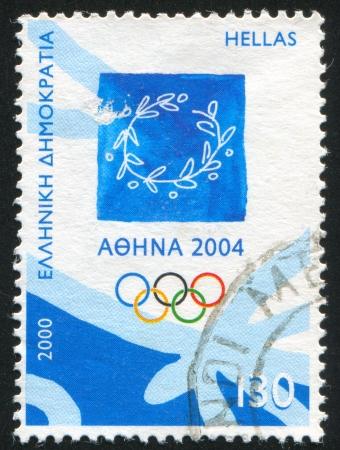 deportes olimpicos: GRECIA - CIRCA 2000: sello impreso por Grecia, muestra Emblema de Atenas 2004, Juegos Olímpicos, circa 2000