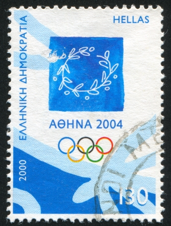olympic ring: GREECE - CIRCA 2000: stamp printed by Greece, shows Emblem of 2004 Athens Olympic Games, circa 2000 Editorial
